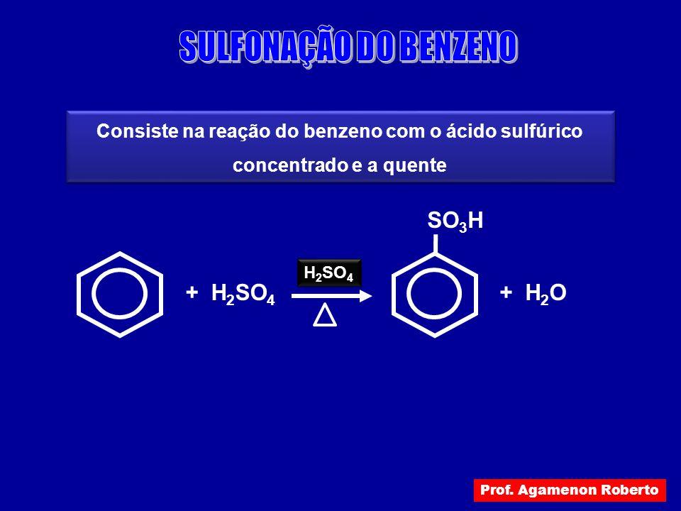 Consiste na reação do benzeno com o ácido sulfúrico concentrado e a quente + H 2 SO 4 H 2 SO 4 + H 2 O SO 3 H Prof. Agamenon Roberto