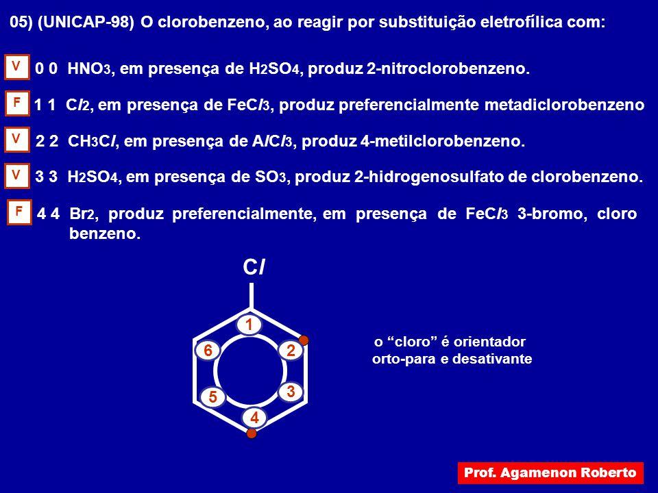 05) (UNICAP-98) O clorobenzeno, ao reagir por substituição eletrofílica com: 0 0 HNO 3, em presença de H 2 SO 4, produz 2-nitroclorobenzeno. 1 1 Cl 2,