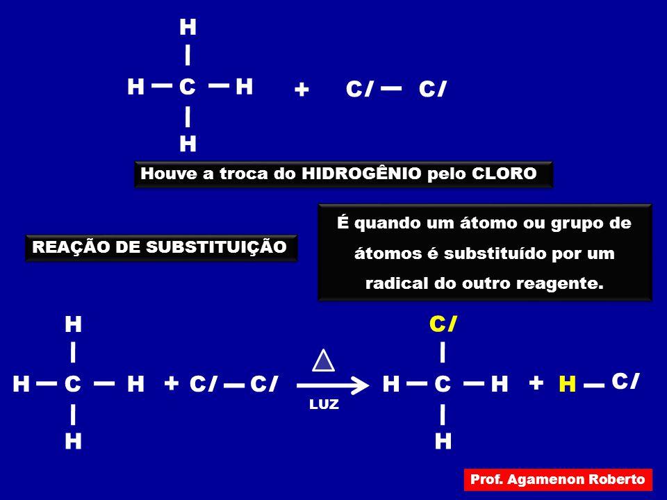CH H H ClCl H ClCl + Houve a troca do HIDROGÊNIO pelo CLORO REAÇÃO DE SUBSTITUIÇÃO É quando um átomo ou grupo de átomos é substituído por um radical d