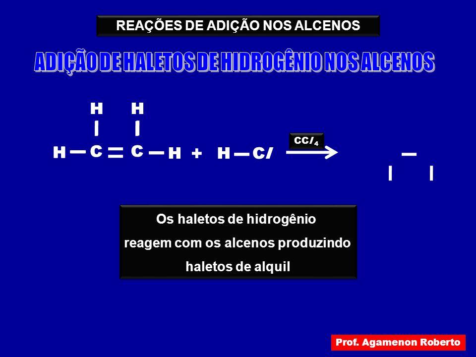 REAÇÕES DE ADIÇÃO NOS ALCENOS H H C H C H HClCl + CCl 4 H H C H C H HClCl Os haletos de hidrogênio reagem com os alcenos produzindo haletos de alquil