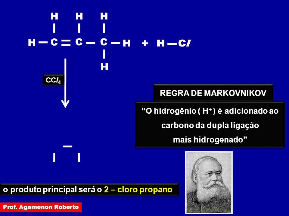 """H C H C H HClCl + H C H H H C H C H H C H H HClCl CCl 4 """"O hidrogênio ( H + ) é adicionado ao carbono da dupla ligação mais hidrogenado"""" """"O hidrogênio"""