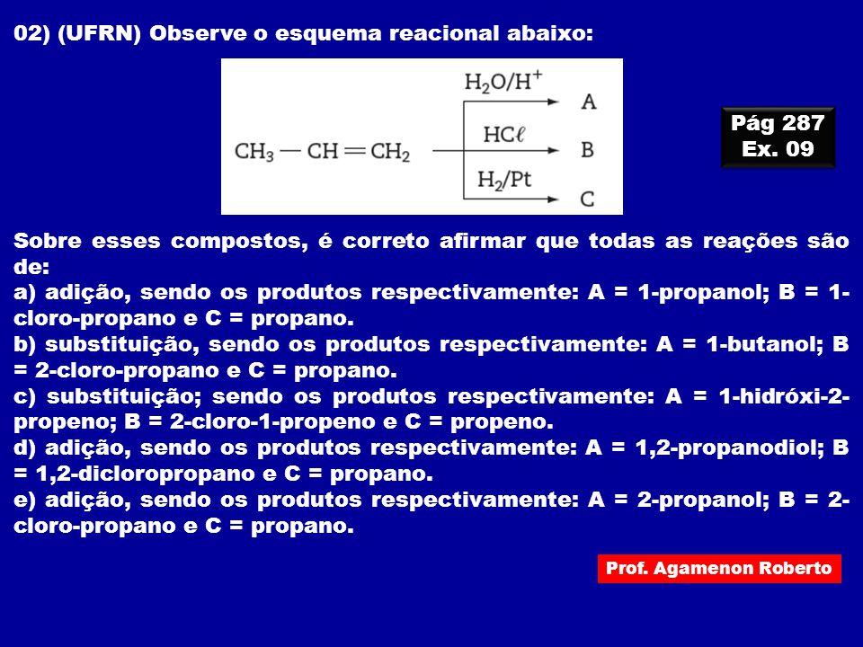 Prof. Agamenon Roberto 02) (UFRN) Observe o esquema reacional abaixo: Sobre esses compostos, é correto afirmar que todas as reações são de: a) adição,