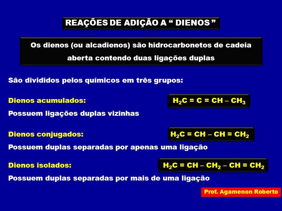 """REAÇÕES DE ADIÇÃO A """" DIENOS """" Os dienos (ou alcadienos) são hidrocarbonetos de cadeia aberta contendo duas ligações duplas Dienos acumulados: H 2 C ="""