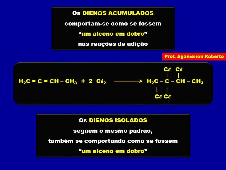 """Os DIENOS ACUMULADOS comportam-se como se fossem """"um alceno em dobro"""" nas reações de adição Os DIENOS ACUMULADOS comportam-se como se fossem """"um alcen"""