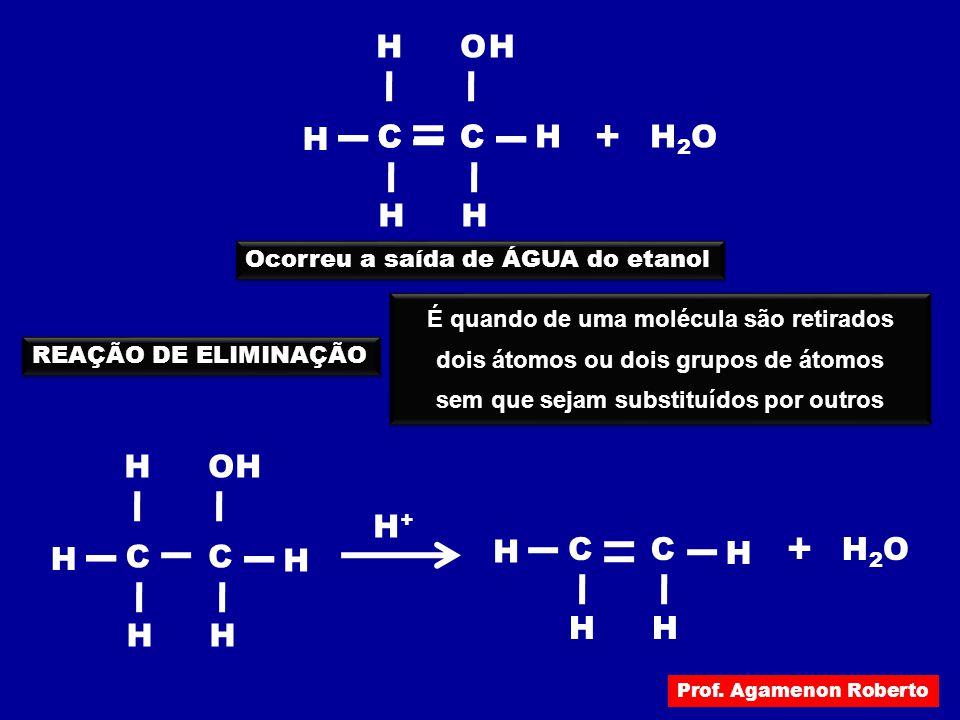 H H2OH2O O + H H CC HH H CC Ocorreu a saída de ÁGUA do etanol REAÇÃO DE ELIMINAÇÃO É quando de uma molécula são retirados dois átomos ou dois grupos d