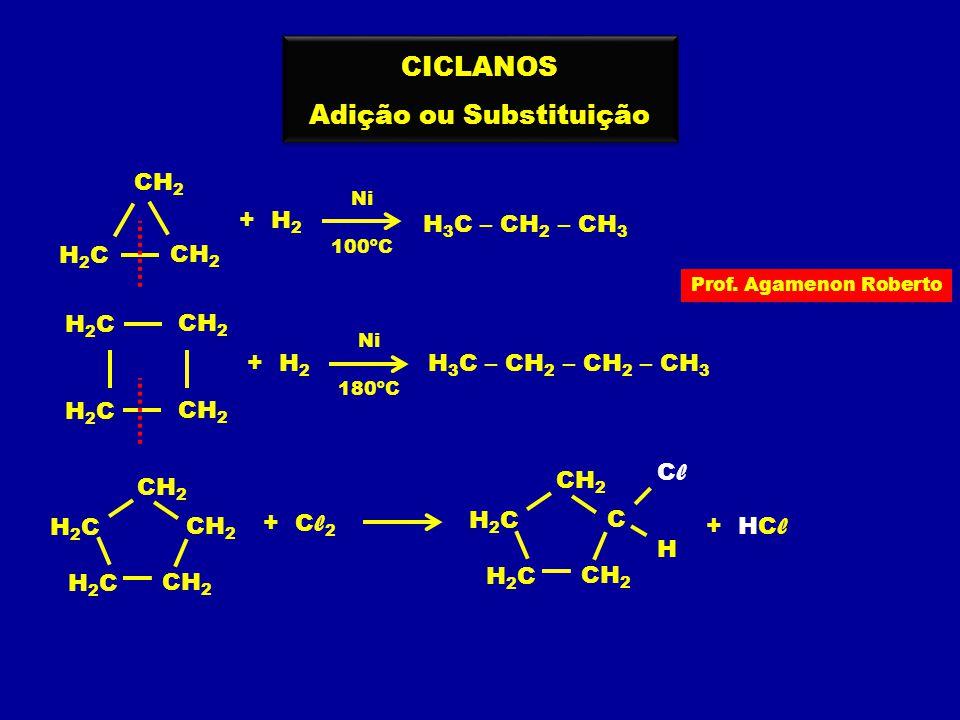 H 3 C – CH 2 – CH 3 Prof. Agamenon Roberto CICLANOS Adição ou Substituição CICLANOS Adição ou Substituição CH 2 + H 2 Ni 100ºC H2CH2C CH 2 + H 2 Ni 18