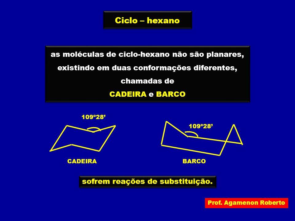 Prof. Agamenon Roberto Ciclo – hexano as moléculas de ciclo-hexano não são planares, existindo em duas conformações diferentes, chamadas de CADEIRA e