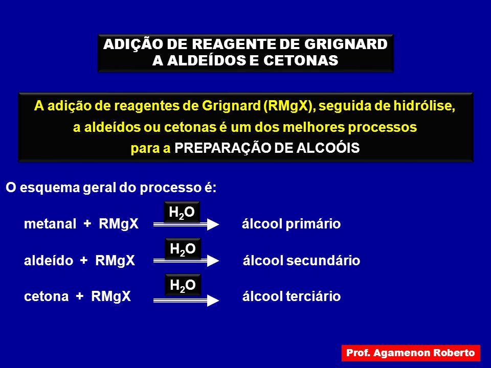 ADIÇÃO DE REAGENTE DE GRIGNARD A ALDEÍDOS E CETONAS ADIÇÃO DE REAGENTE DE GRIGNARD A ALDEÍDOS E CETONAS A adição de reagentes de Grignard (RMgX), segu