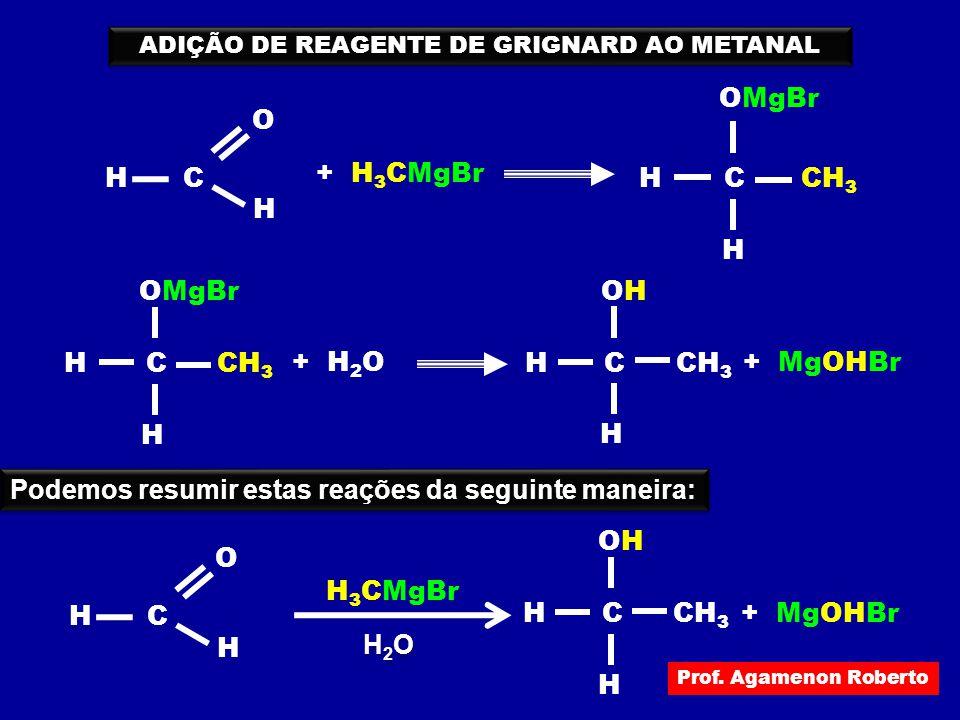 C O H H + H 3 CMgBr CH H OMgBr CH 3 ADIÇÃO DE REAGENTE DE GRIGNARD AO METANAL CH H OMgBr CH 3 + H 2 O CH H + MgOHBr CH 3 OHOH Podemos resumir estas re