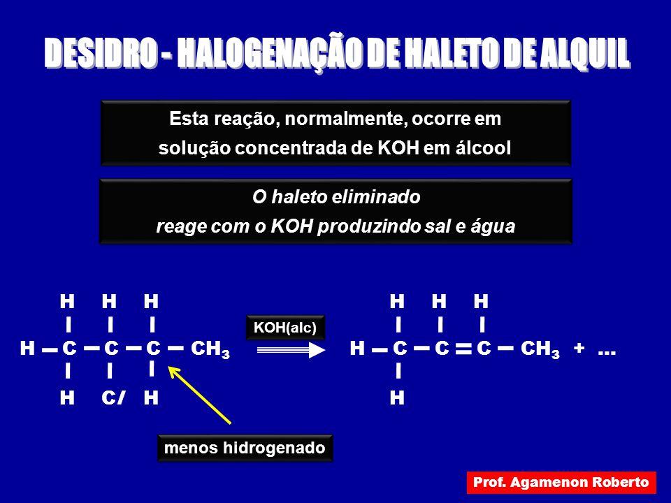 Esta reação, normalmente, ocorre em solução concentrada de KOH em álcool Esta reação, normalmente, ocorre em solução concentrada de KOH em álcool O ha