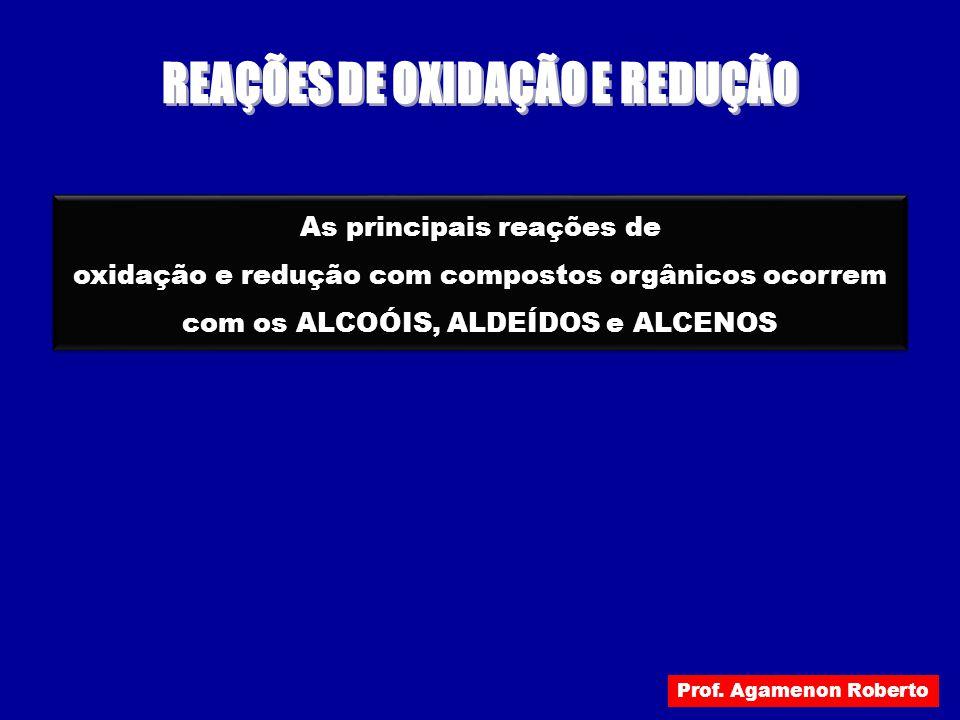 As principais reações de oxidação e redução com compostos orgânicos ocorrem com os ALCOÓIS, ALDEÍDOS e ALCENOS As principais reações de oxidação e red