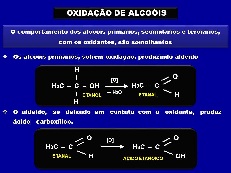 OXIDAÇÃO DE ALCOÓIS O comportamento dos alcoóis primários, secundários e terciários, com os oxidantes, são semelhantes  Os alcoóis primários, sofrem