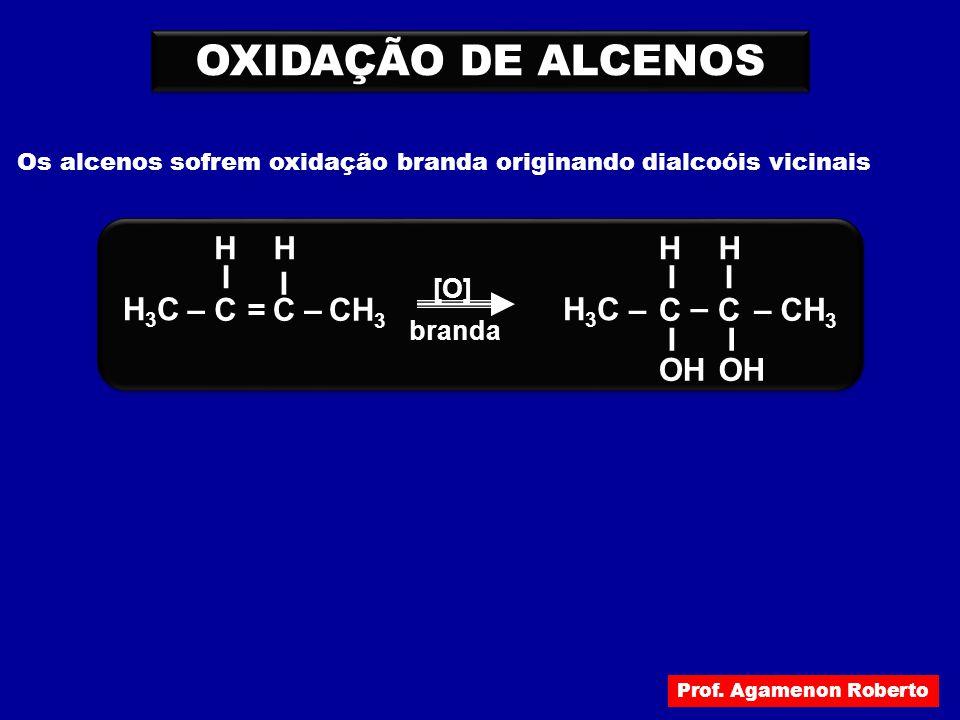 OXIDAÇÃO DE ALCENOS Os alcenos sofrem oxidação branda originando dialcoóis vicinais H3CH3C –C I I –CH 3 OH H [O] =C I H branda H3CH3C –C I –CH 3 H – C
