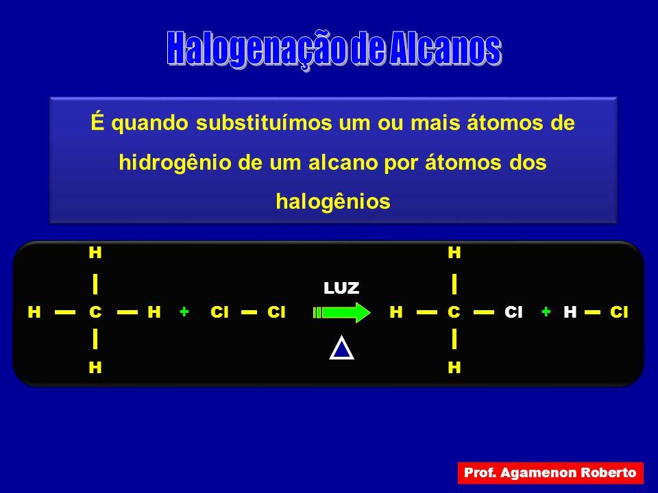 É quando substituímos um ou mais átomos de hidrogênio de um alcano por átomos dos halogênios C LUZ Cl H H + H HC H H + H H Prof. Agamenon Roberto