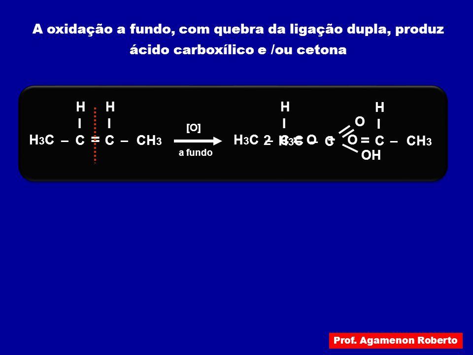 A oxidação a fundo, com quebra da ligação dupla, produz ácido carboxílico e /ou cetona H3CH3C –C I –CH 3 H [O] = C I H a fundo H3CH3C –C I H = O+ –CH