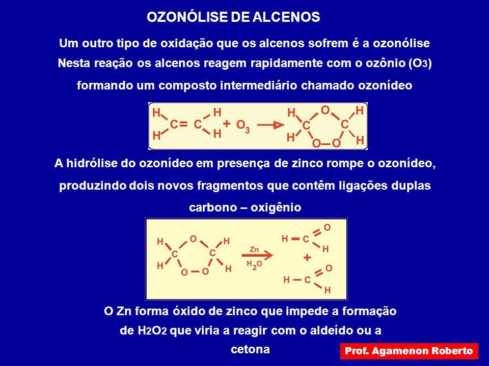 OZONÓLISE DE ALCENOS Um outro tipo de oxidação que os alcenos sofrem é a ozonólise Nesta reação os alcenos reagem rapidamente com o ozônio (O 3 ) form