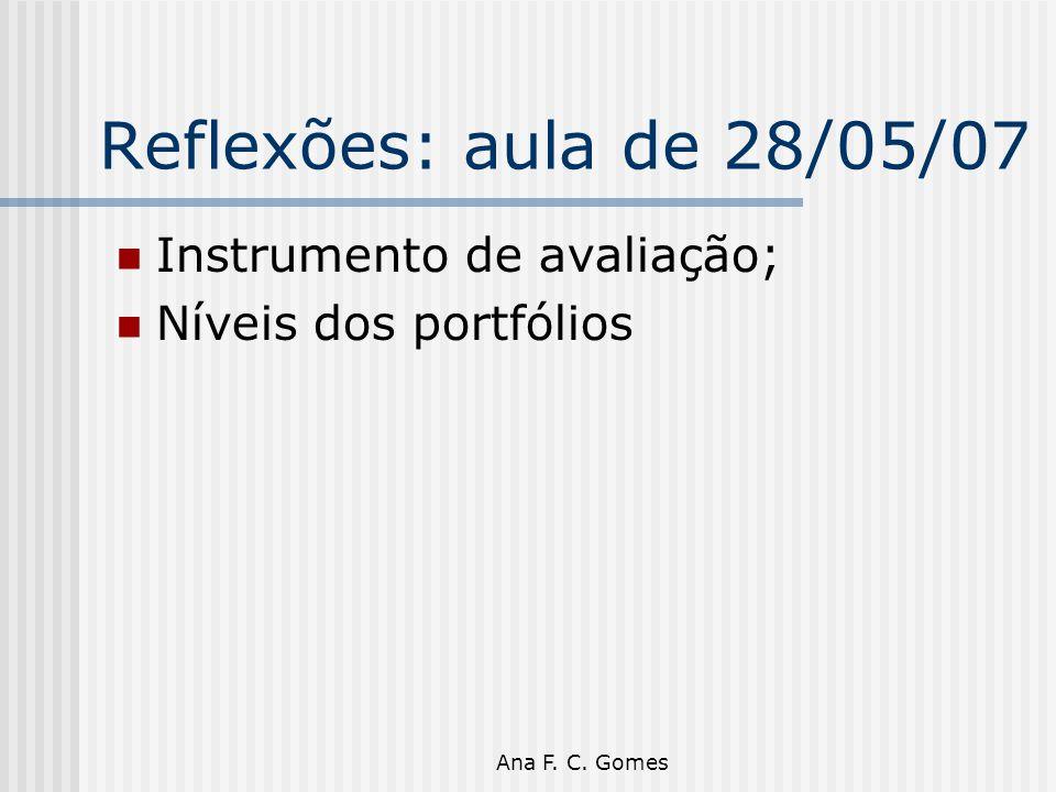 Ana F. C. Gomes Reflexões: aula de 28/05/07 Instrumento de avaliação; Níveis dos portfólios