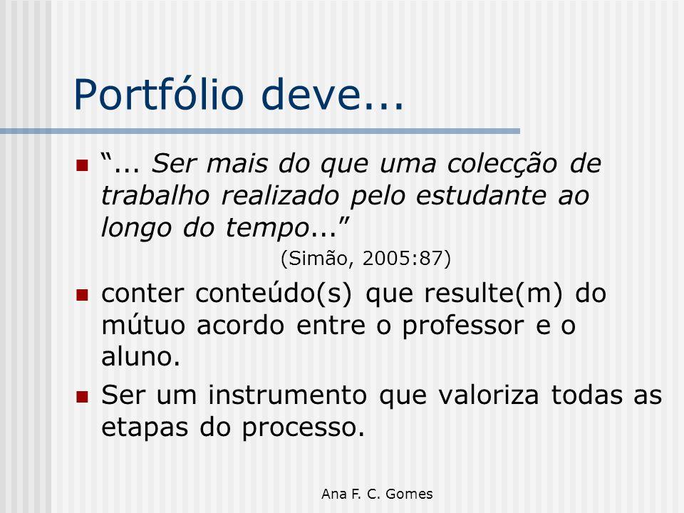 """Ana F. C. Gomes Portfólio deve... """"... Ser mais do que uma colecção de trabalho realizado pelo estudante ao longo do tempo..."""" (Simão, 2005:87) conter"""