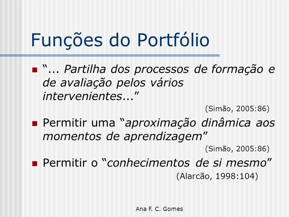 """Ana F. C. Gomes Funções do Portfólio """"... Partilha dos processos de formação e de avaliação pelos vários intervenientes..."""" (Simão, 2005:86) Permitir"""
