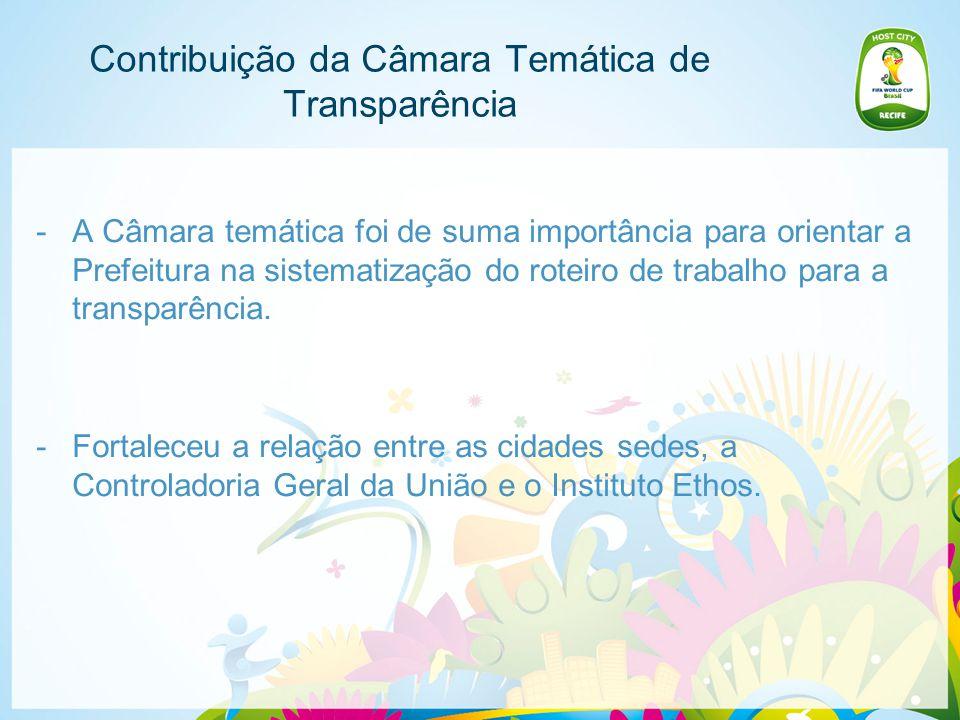 Contribuição da Câmara Temática de Transparência -A Câmara temática foi de suma importância para orientar a Prefeitura na sistematização do roteiro de trabalho para a transparência.