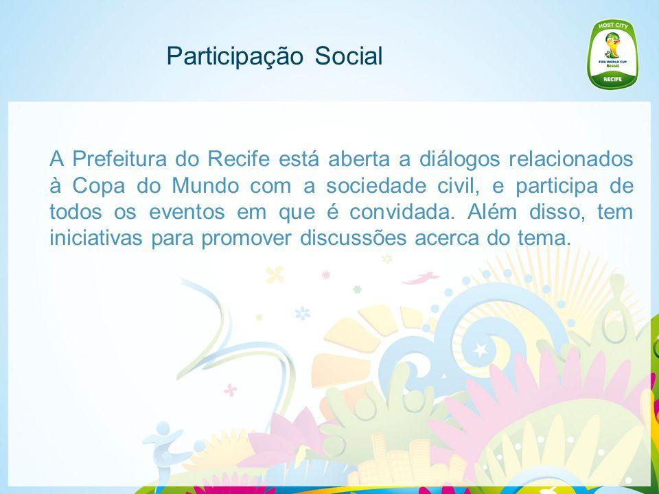 Participação Social A Prefeitura do Recife está aberta a diálogos relacionados à Copa do Mundo com a sociedade civil, e participa de todos os eventos em que é convidada.
