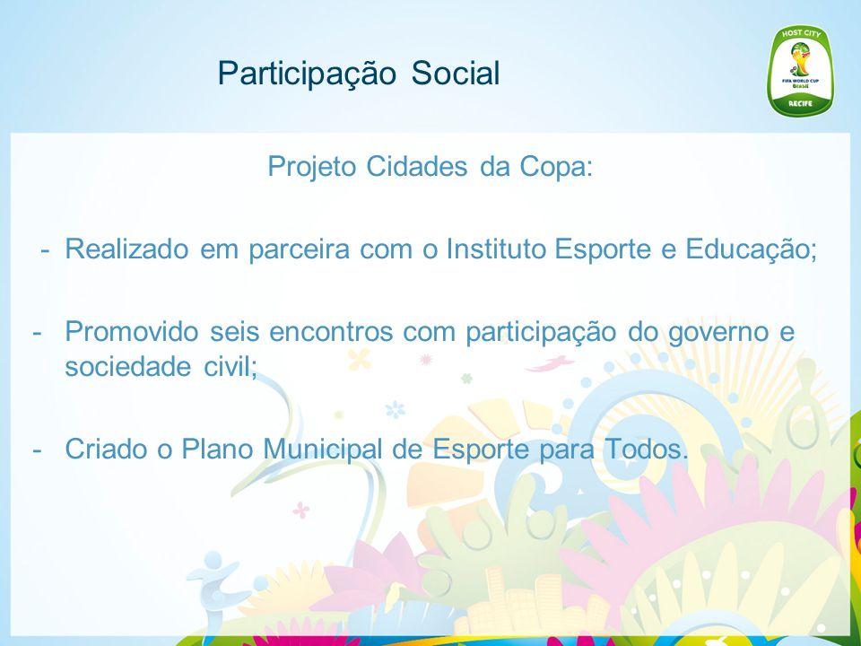 Participação Social Projeto Cidades da Copa: -Realizado em parceira com o Instituto Esporte e Educação; -Promovido seis encontros com participação do governo e sociedade civil; -Criado o Plano Municipal de Esporte para Todos.