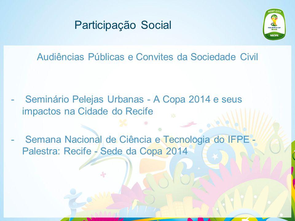 Participação Social Audiências Públicas e Convites da Sociedade Civil - Seminário Pelejas Urbanas - A Copa 2014 e seus impactos na Cidade do Recife - Semana Nacional de Ciência e Tecnologia do IFPE - Palestra: Recife - Sede da Copa 2014