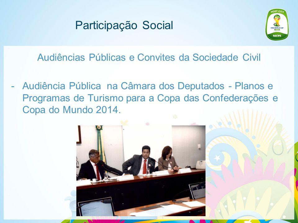 Participação Social Audiências Públicas e Convites da Sociedade Civil -No dia 24 de abril de 2014, acontecerá o Seminário Regional do Legado