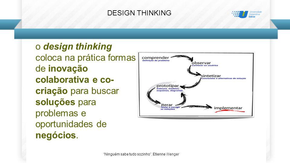 o design thinking coloca na prática formas de inovação colaborativa e co- criação para buscar soluções para problemas e oportunidades de negócios.