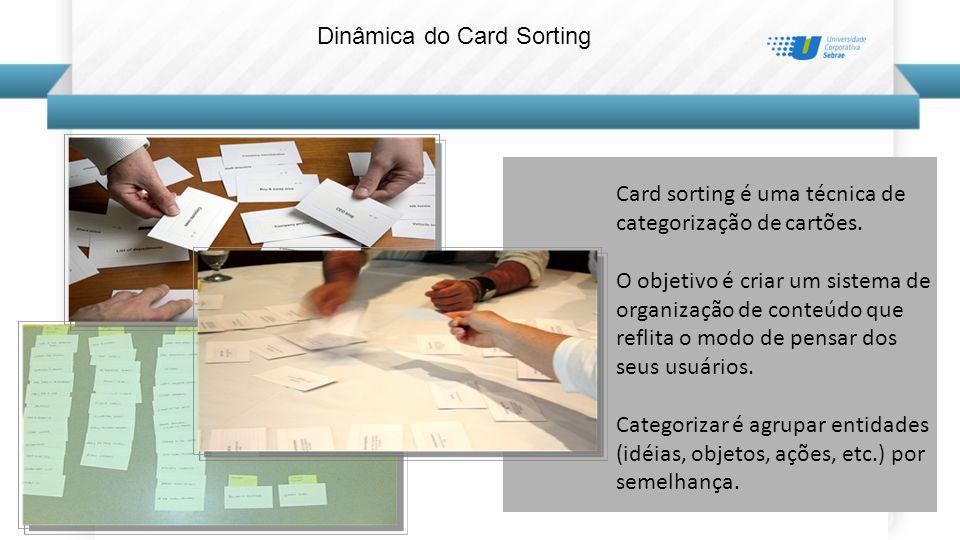 Dinâmica do Card Sorting Card sorting é uma técnica de categorização de cartões.