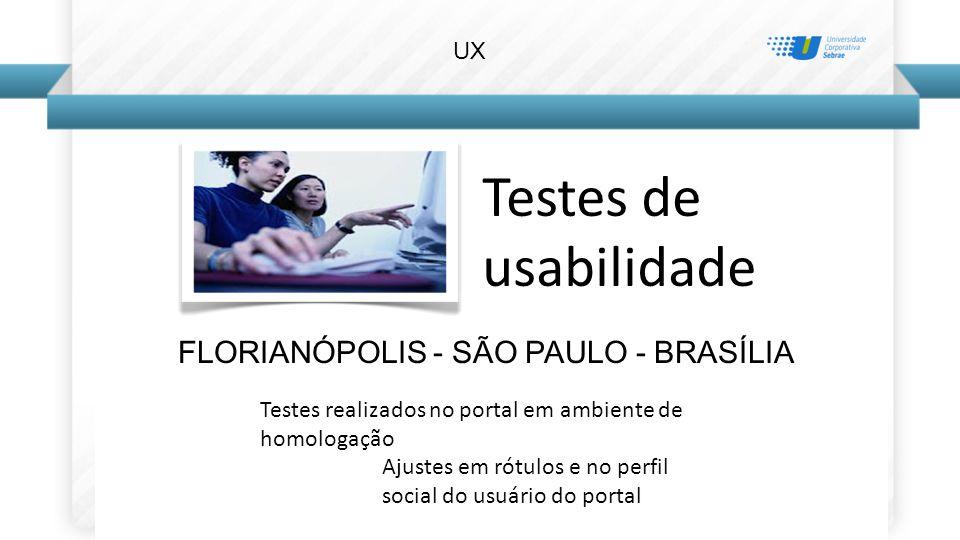 Testes de usabilidade FLORIANÓPOLIS - SÃO PAULO - BRASÍLIA Testes realizados no portal em ambiente de homologação Ajustes em rótulos e no perfil social do usuário do portal UX