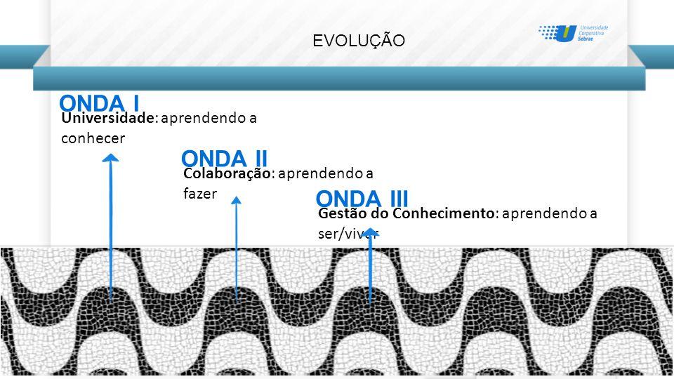 EVOLUÇÃO ONDA I Universidade: aprendendo a conhecer ONDA II Colaboração: aprendendo a fazer ONDA III Gestão do Conhecimento: aprendendo a ser/viver