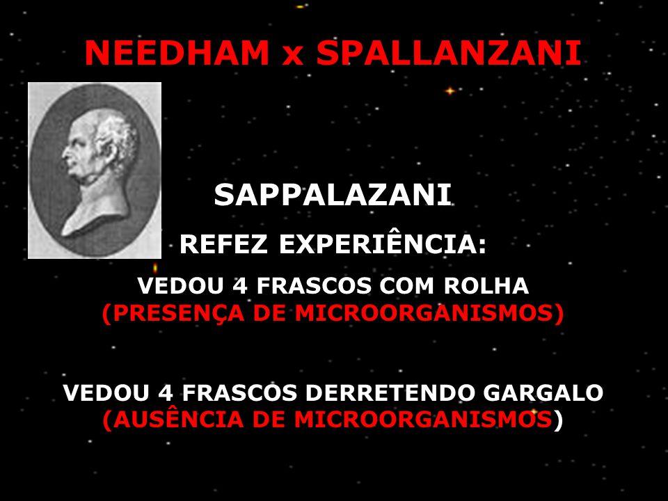 """NEEDHAM x SPALLANZANI (1713 – 1781) (1729 – 1799) NEEDHAM FERVEU CALDO NUTRITIVO (PRESENÇA DE MICROORGANISMOS) """"GERAÇÃO ESPONTÂNEA"""""""
