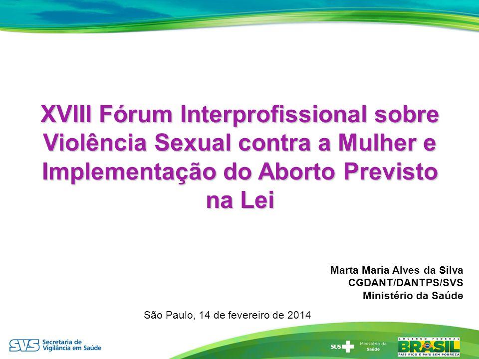 XVIII Fórum Interprofissional sobre Violência Sexual contra a Mulher e Implementação do Aborto Previsto na Lei Marta Maria Alves da Silva CGDANT/DANTP