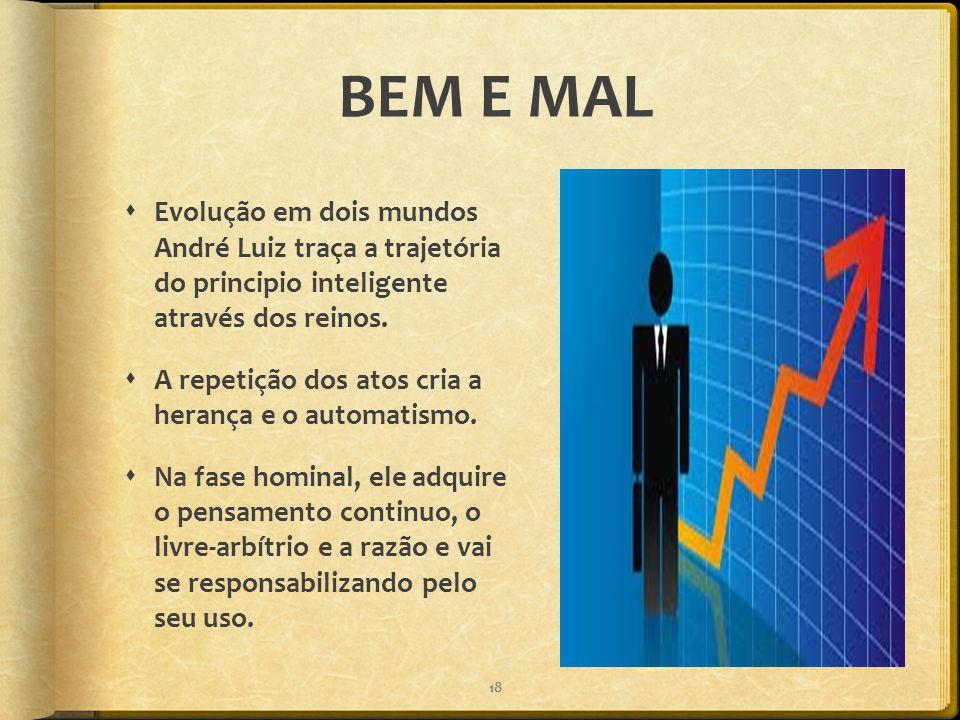BEM E MAL  Evolução em dois mundos André Luiz traça a trajetória do principio inteligente através dos reinos.  A repetição dos atos cria a herança e