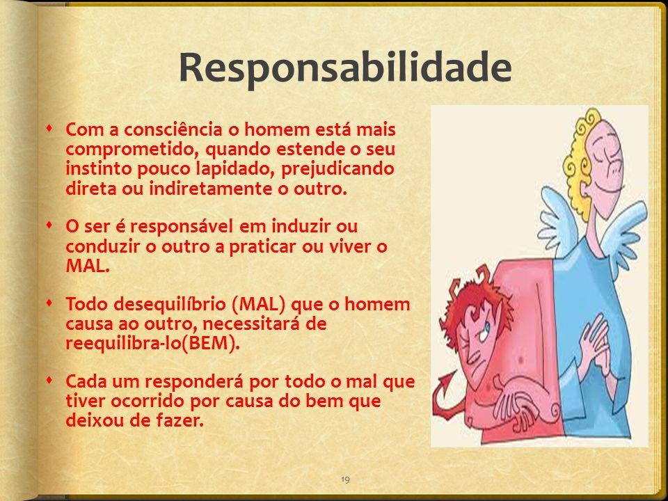 Responsabilidade  Com a consciência o homem está mais comprometido, quando estende o seu instinto pouco lapidado, prejudicando direta ou indiretament