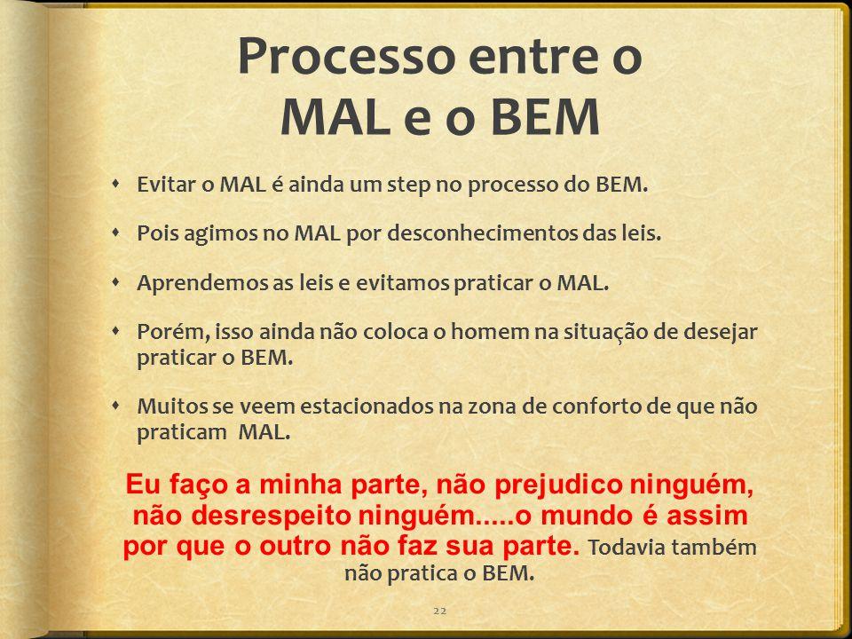 Processo entre o MAL e o BEM  Evitar o MAL é ainda um step no processo do BEM.  Pois agimos no MAL por desconhecimentos das leis.  Aprendemos as le