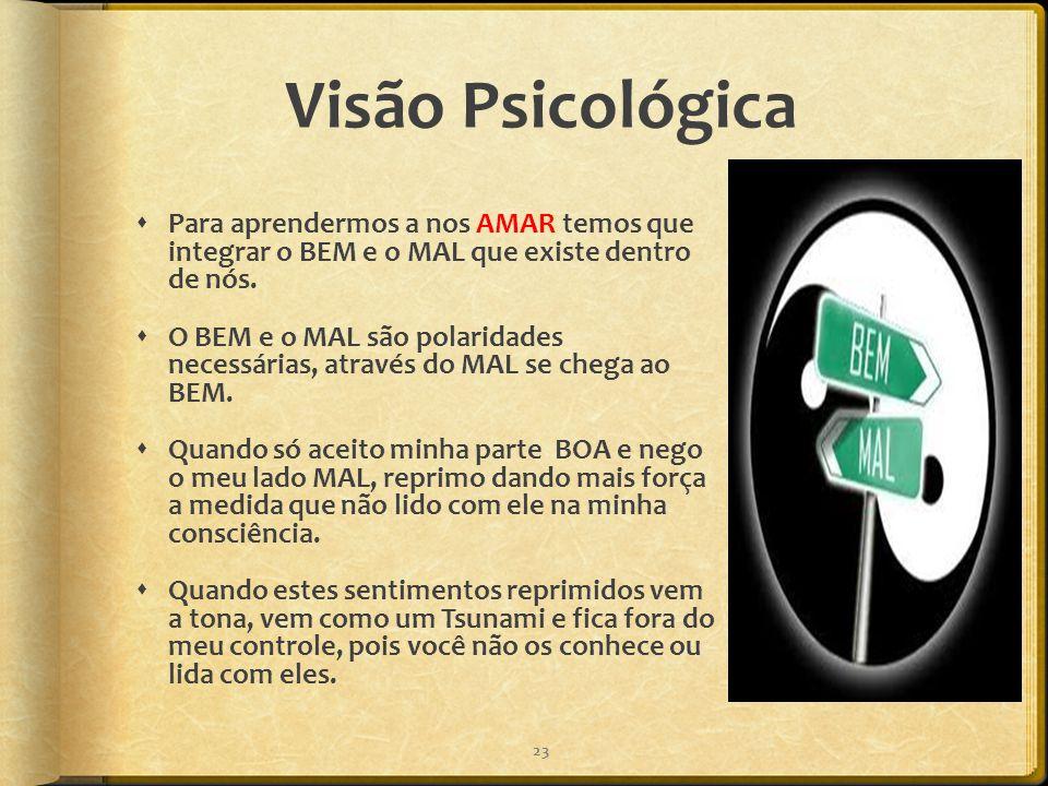 Visão Psicológica  Para aprendermos a nos AMAR temos que integrar o BEM e o MAL que existe dentro de nós.  O BEM e o MAL são polaridades necessárias