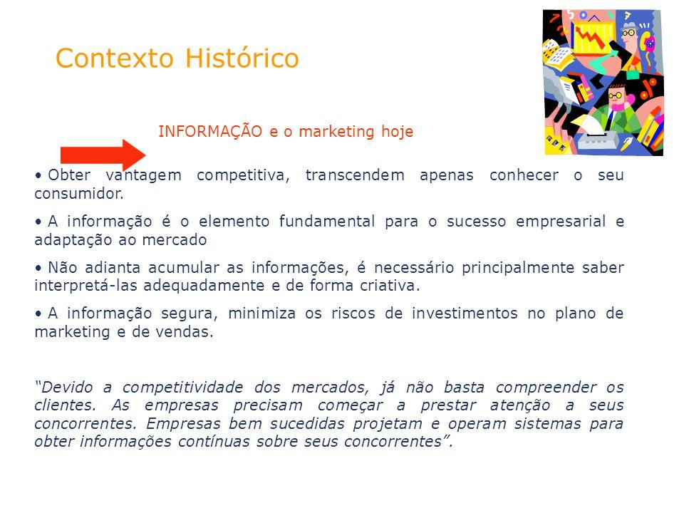 Contexto Histórico INFORMAÇÃO e o marketing hoje Obter vantagem competitiva, transcendem apenas conhecer o seu consumidor. A informação é o elemento f