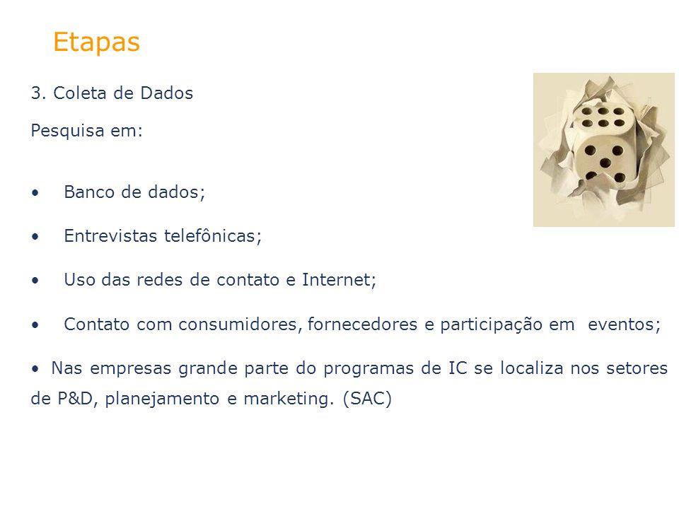 Etapas 3. Coleta de Dados Pesquisa em: Banco de dados; Entrevistas telefônicas; Uso das redes de contato e Internet; Contato com consumidores, fornece