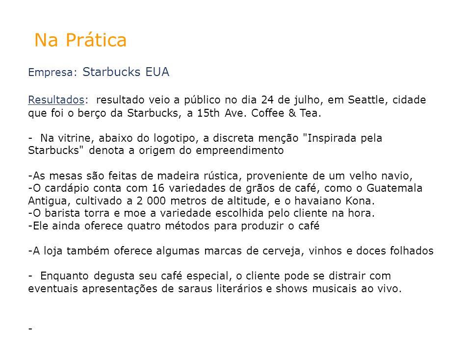 Na Prática Empresa: Starbucks EUA Resultados: resultado veio a público no dia 24 de julho, em Seattle, cidade que foi o berço da Starbucks, a 15th Ave