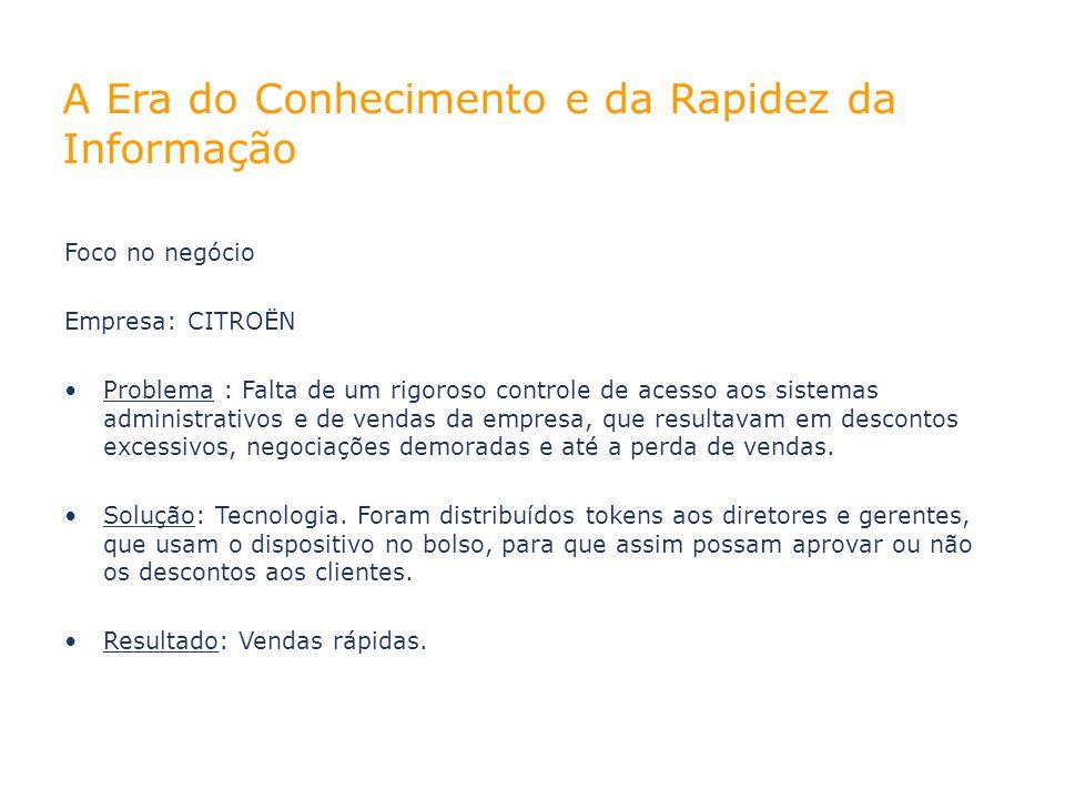 Foco no negócio Empresa: CITROËN Problema : Falta de um rigoroso controle de acesso aos sistemas administrativos e de vendas da empresa, que resultava