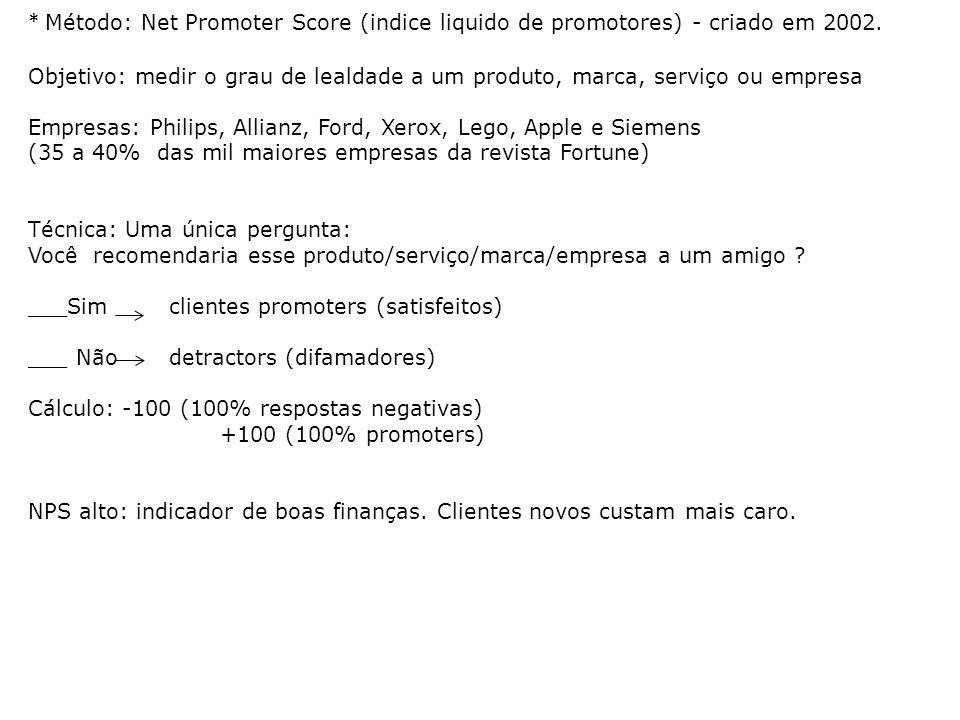 * Método: Net Promoter Score (indice liquido de promotores) - criado em 2002. Objetivo: medir o grau de lealdade a um produto, marca, serviço ou empre
