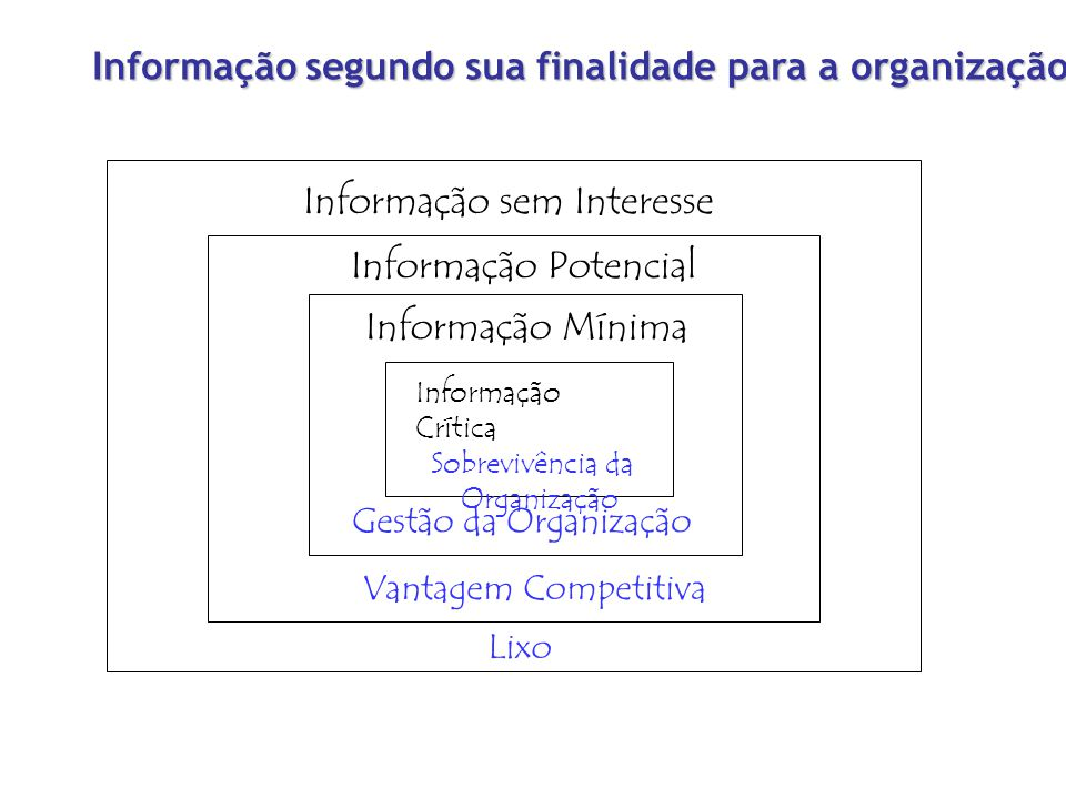 Informação segundo sua finalidade para a organização Informação sem Interesse Informação Potencial Informação Mínima Informação Crítica Sobrevivência