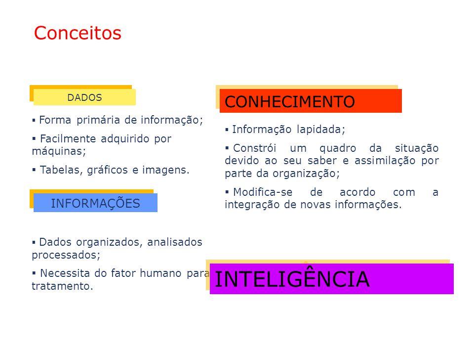 CONHECIMENTO INFORMAÇÕES  Forma primária de informação;  Facilmente adquirido por máquinas;  Tabelas, gráficos e imagens.  Dados organizados, anal
