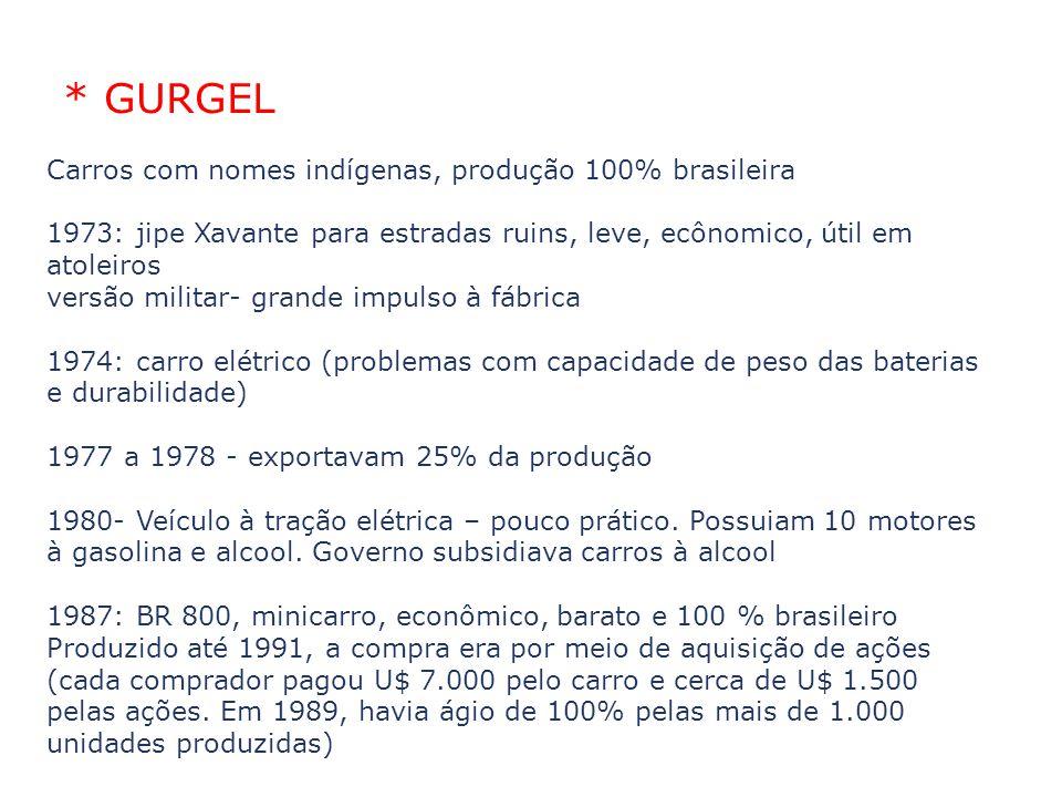 * GURGEL Carros com nomes indígenas, produção 100% brasileira 1973: jipe Xavante para estradas ruins, leve, ecônomico, útil em atoleiros versão milita