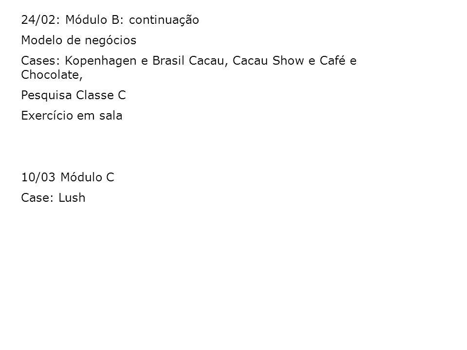24/02: Módulo B: continuação Modelo de negócios Cases: Kopenhagen e Brasil Cacau, Cacau Show e Café e Chocolate, Pesquisa Classe C Exercício em sala 1