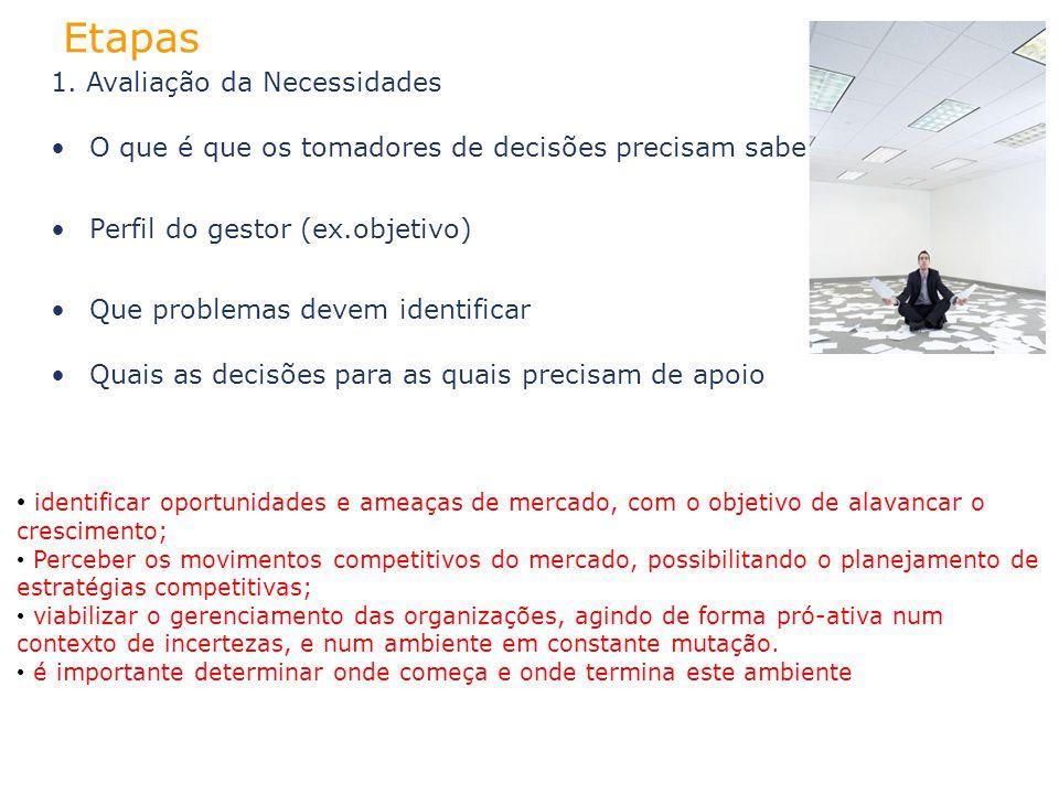 1. Avaliação da Necessidades O que é que os tomadores de decisões precisam saber? Perfil do gestor (ex.objetivo) Que problemas devem identificar Quais