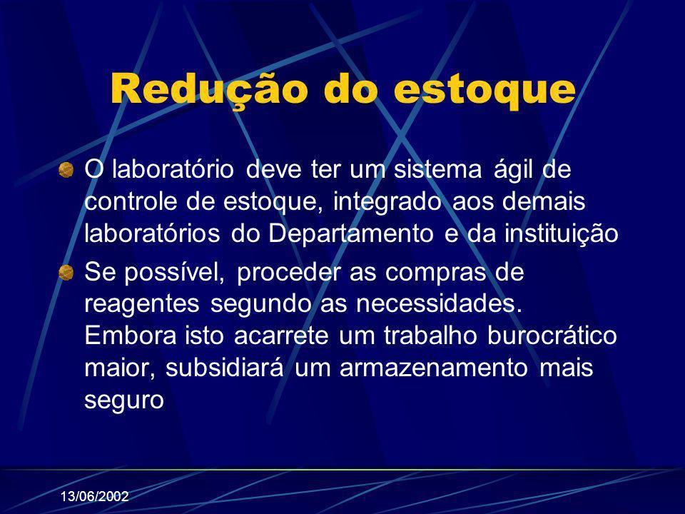 13/06/2002 Redução do estoque O laboratório deve ter um sistema ágil de controle de estoque, integrado aos demais laboratórios do Departamento e da in