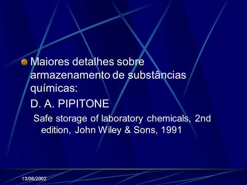 13/06/2002 Maiores detalhes sobre armazenamento de substâncias químicas: D. A. PIPITONE Safe storage of laboratory chemicals, 2nd edition, John Wiley